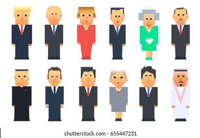 World leaders vector icon set