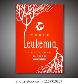 World leukemia awareness month poster. Creative lettering with blood vessels isolated on bright red background in flat style. Acute lymphoblastic leukaemia image. Vector illustration.
