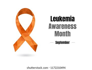 World Leukemia Awareness Month (September) concept with orange awareness ribbon. Colorful vector illustration for web and printing.