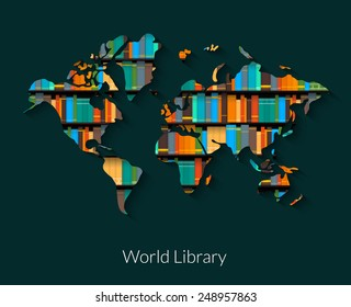 World library vector illustration on dark background