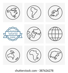 world line icons set