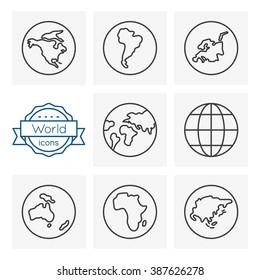 world line icons set