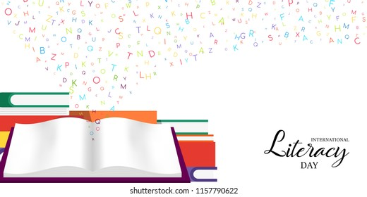 World Literacy Day card illustration of colorful school books for children education and alphabet letters. EPS10 vector.