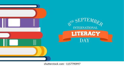 World Literacy Day card illustration of colorful school books for children education. EPS10 vector.