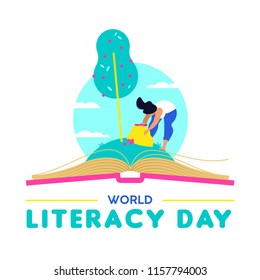 World Literacy Day design, woman taking fruit from open book. Reading education for children and adults, Knowledge as food of life concept illustration. EPS10 vector.