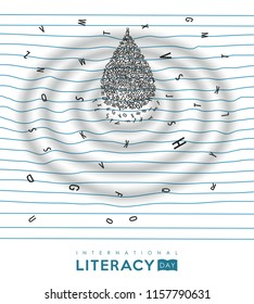 World Literacy Day illustration of alphabet letter water drop on school notebook. Essential education for children concept. EPS10 vector.