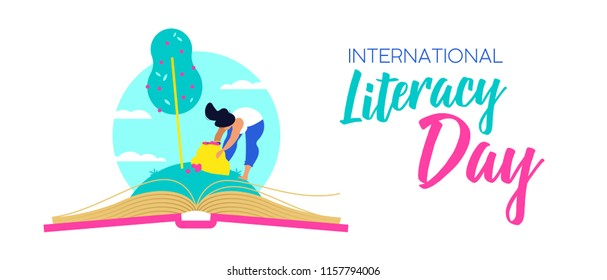 World Literacy Day web banner, woman taking fruit from open book. Reading education for children and adults, knowledge as food of life concept illustration. EPS10 vector.