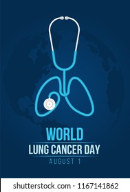 World lung cancer day banner with lung stethoscope roll shape lung sign on blue dark world map vector design
