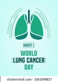 World Lung cancer day. Beautiful vector illustration with lungs icon. Editable image in light green and emerald colors useful for vertical poster, leaflet or bannerdesign.
