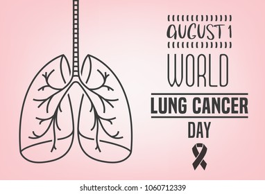 World Lung cancer day. Landscape poster concept. Beautiful vector illustration with lungs icon. Editable image in light pink and grey colors