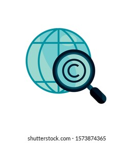 world magnifier property intellectual copyright icon vector illustration