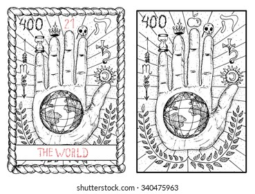 The world.  The major arcana tarot card, vintage hand drawn engraved illustration with mystic symbols. Concept image with human hand or palm with earth planet in the middle