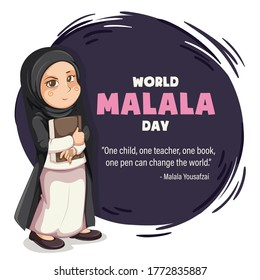 World Malala Day, 12th July, Malala Yousafzai quote, women education, illustration vector