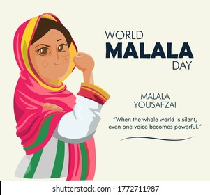 World Malala Day, Malala Yousafzai quote, illustration vector