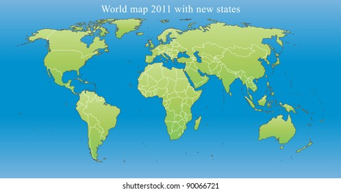 world map 2011 including new states like south sudan and kosovo fully editable vector