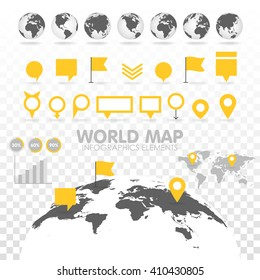 World map 3D with set of info graphics elements. Design information, business graph and chart. Vector illustration. Transparent background