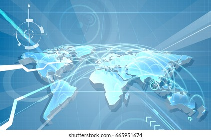 World map abstract concept background with flight paths or communication links globalisation or technology concept