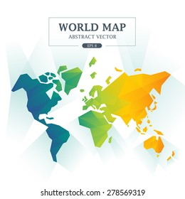 World Map Abstract Full Color Vector Illustration