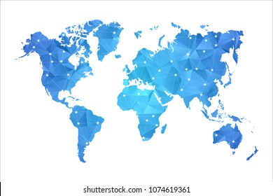 World Map - Abstract geometric rumpled triangular low poly style gradient graphic on white background , line dots polygonal design for your . Vector illustration eps 10