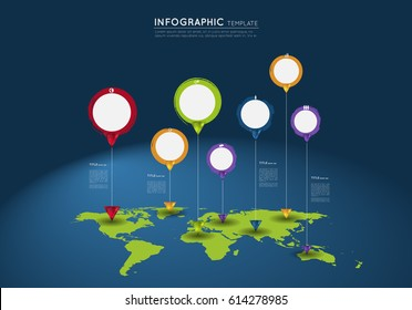 world map with abstract grunge circles and crystal  pointers, infographic template