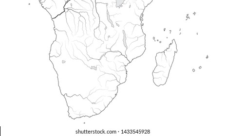 World Map of AFRICA COASTLINE and MADAGASCAR:  South Africa, Rhodesia, Namibia, Kenya, Tanzania, Zanzibar, Zambezi, Zimbabwe, Madagascar. Geographic chart with oceanic coastline, islands and rivers.