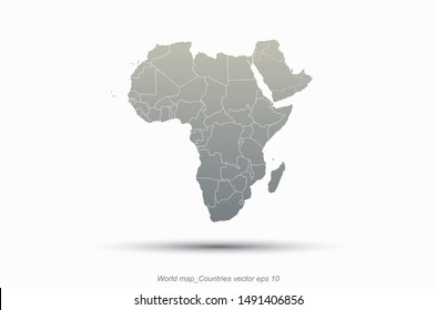 world map africa outline in vector. africa countries map. middle east map.