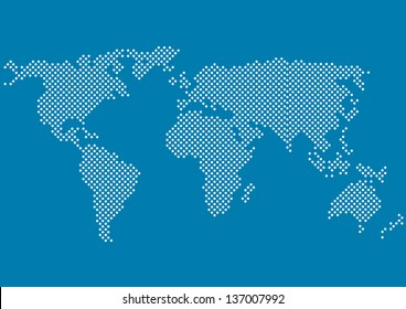 world map with all continents made of small white dots isolated on blue background