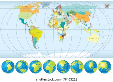 World Map With Country Names Images, Stock Photos & Vectors ...