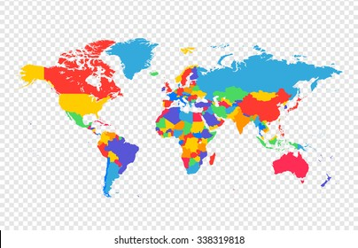 World map - all countries in separate layers