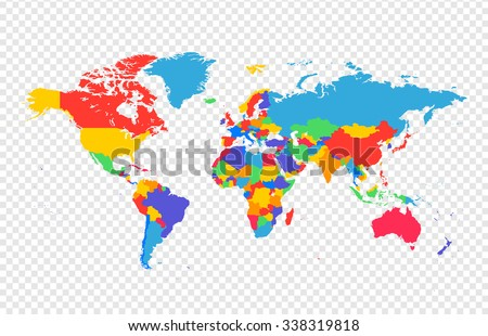 Map Of The World With All Countries.World Map All Countries Separate Layers Stock Vector Royalty Free