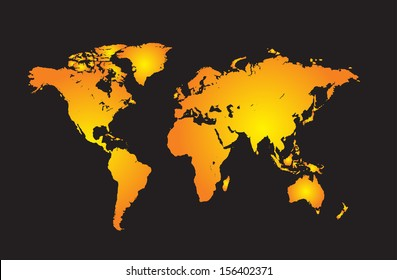 World map with all countries, and set of earth globes, detailed vector