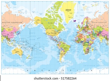 International Date Line On World Map.International Date Line Stock Vectors Images Vector Art