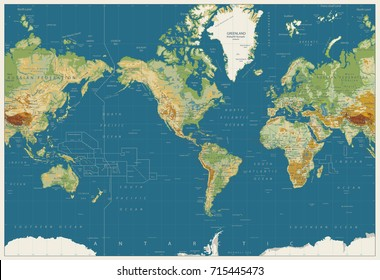World Map Americas Centered Physical Map. Vintage Colors. No bathymetry. Vector illustration.
