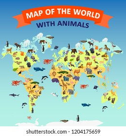 World map animal concept background. Cartoon illustration of world map animal vector concept background for web design