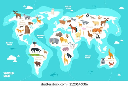 World map with animals. Earth discovery funny kids geography vector illustration. Animal geography world, wildlife eurasia africa and america