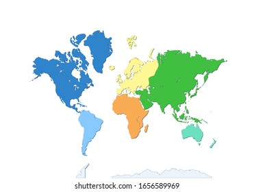 World map with Antarctica. seven continents. Each continent in different color. flat design. Atlas. Wallpaper global. Asia, Africa, North and South America, Antarctica, Europe and Australia.