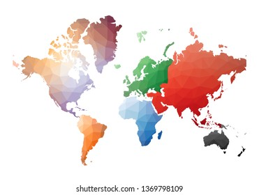 World Map. appealing low poly style. Vector illustration.