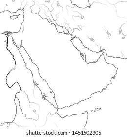 World Map of ARABIAN PENINSULA:  The Middle East, Arab World, Saudi Arabia, Iraq, Syria, Mesopotamia, Persia, The Emirates, Persian Gulf, Red Sea, Indian Ocean. Geographic chart with sea coastline.