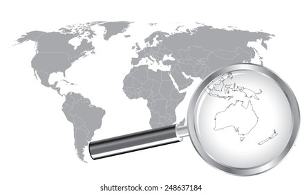 World map countries australia magnified by stock vector royalty world map australia wired continent with magnifier glass gumiabroncs Images