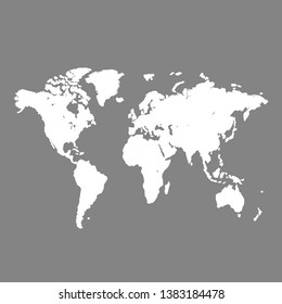 World map background. Grunge illustration of silhouettes world map. Gray blank vector world map.