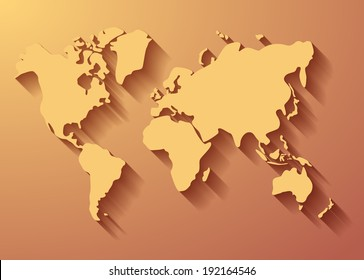 World map background with long shadow. Vector eps10.