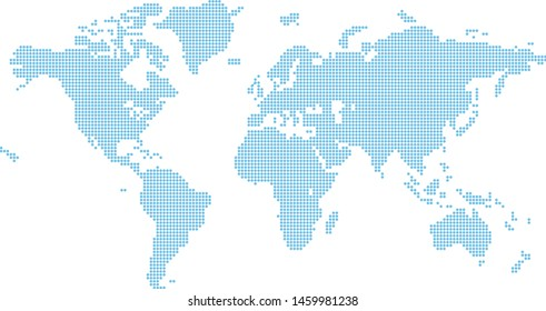 A world map background made of octagon shapes