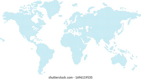 A world map background made of squares or diamond shapes