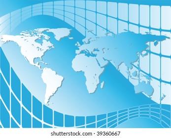 World map background over blue screens, vector illustration