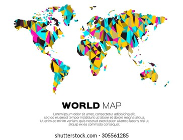 World map background in polygonal style. Abstract origami color map design.