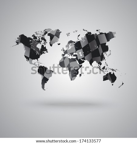 World Map Background Race Theme Stock Vector Royalty Free