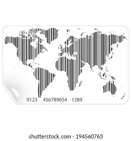 World map in the bar code concept vector file