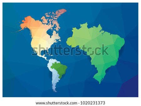 World Map Big Brazil Map Triangle Stock Vector Royalty Free