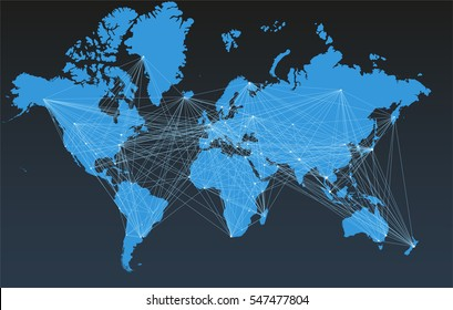 World map with big cities, connected by lines.