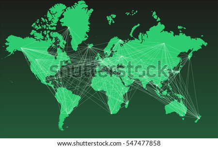World Map Big Cities Connected By Stock Vector (Royalty Free ...